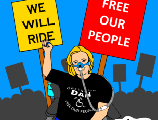 A caricature of Sue Elsegood, sitting in her power chair and with a clenched fist raised