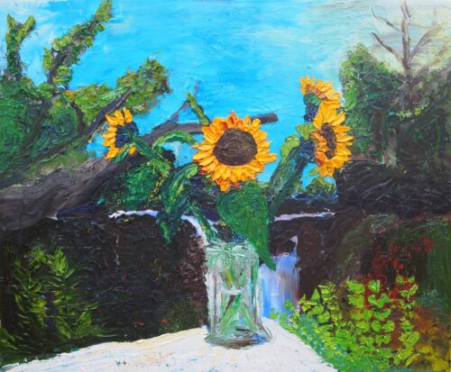 oil painting of sunflowers in a vase