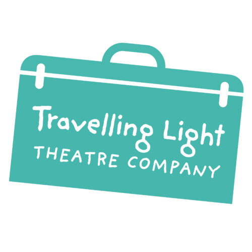 An illustration of a blue suitcase with white text that reads: Travelling Light Theatre Company