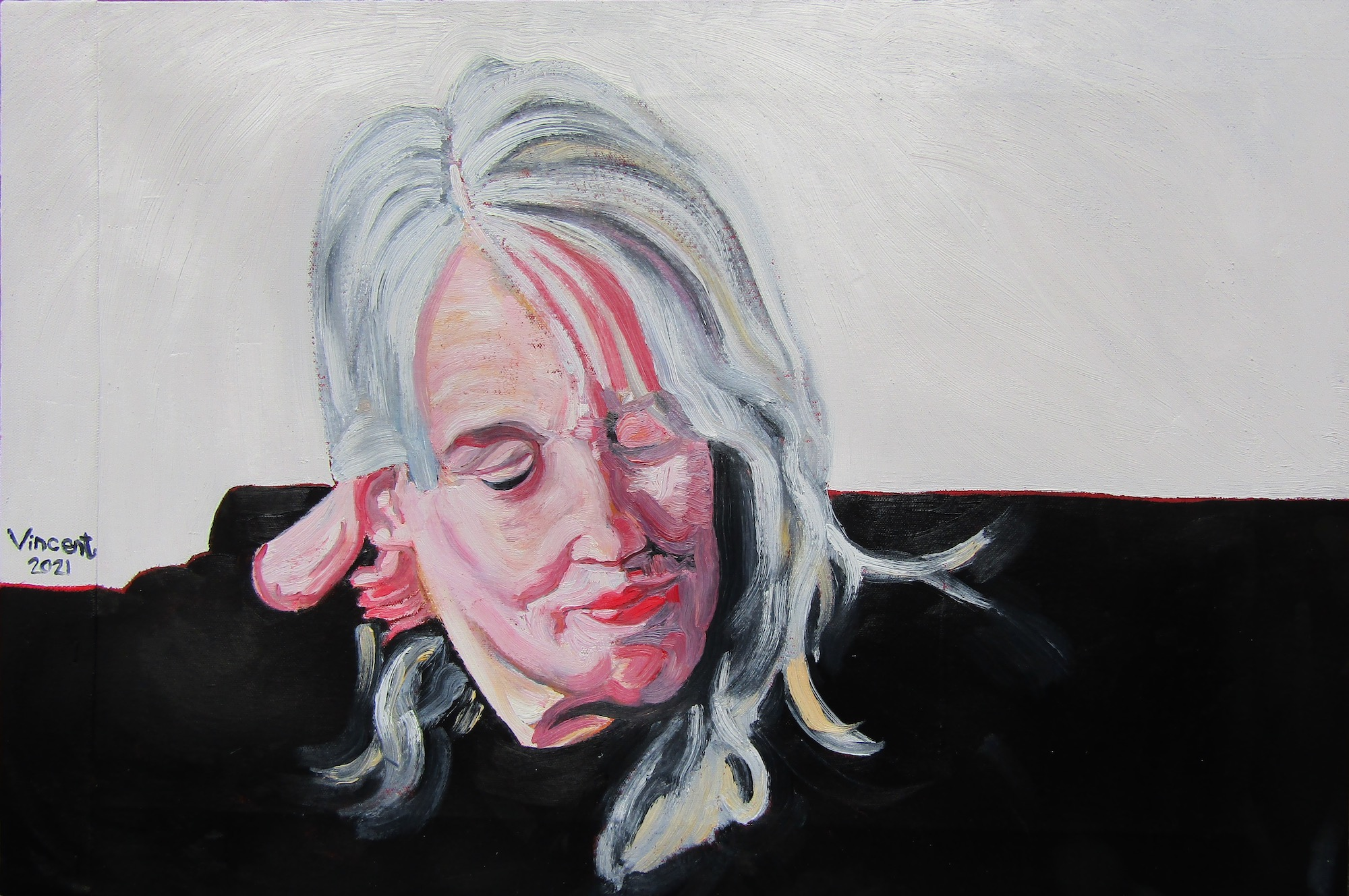 Oil portrait of a white woman with blonde hair looking down away from the viewer