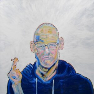 Oil portrait of a white male with a bald head looking out of the canvas