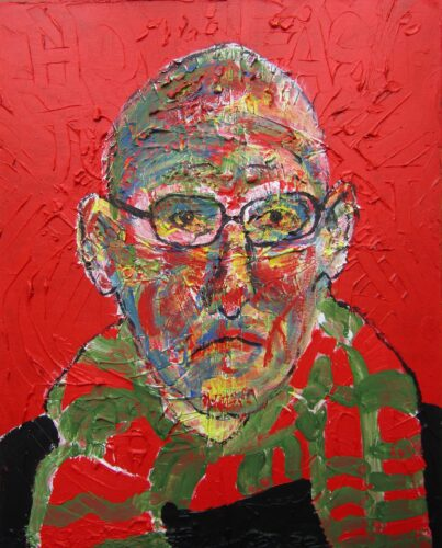 Acrylics portrait of a white male with a bald head looking out of the canvas