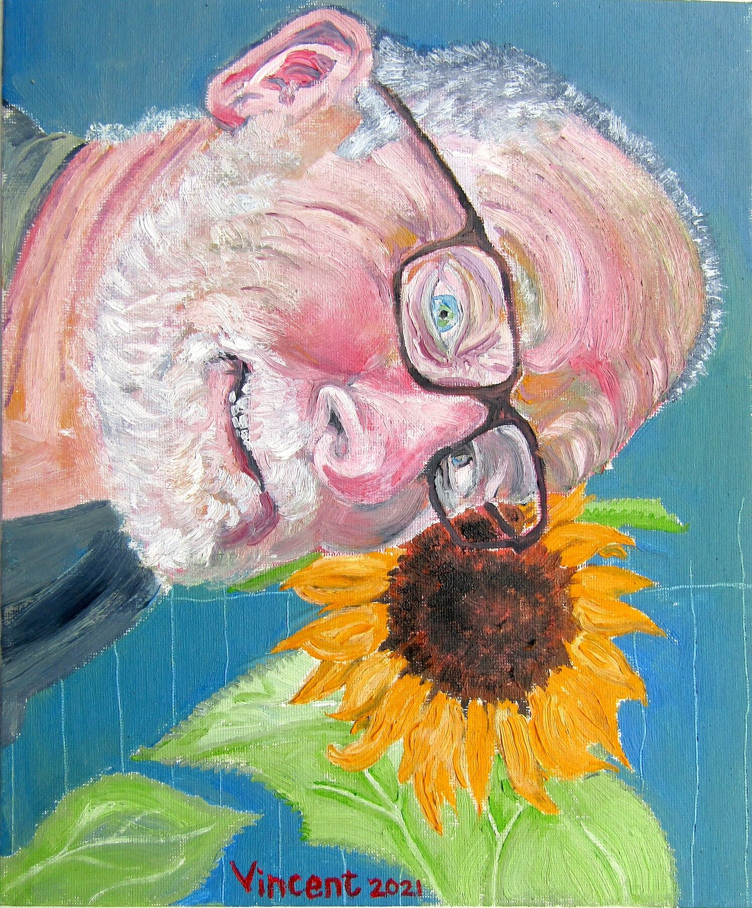 Oil portrait of a white male with a bald head pictured with a large sunflower, looking out of the canvas