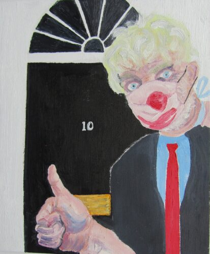 Oil portrait of a white male with a blonde wig in a suit, pictured in front of a black door with no. 10 on it.