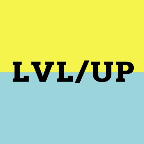LVL/UP in bold black text on a a square background that is split horizontally half yellow, half blue.