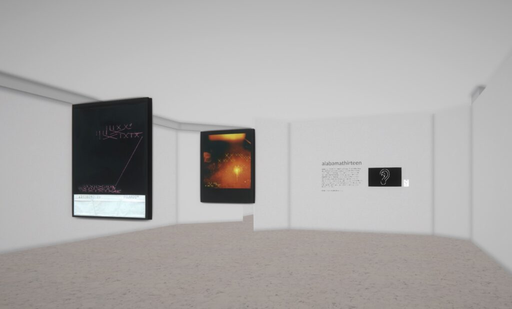 Digital artwork showing two large abstract artworks within a large online gallery space with an empty floor and ceiling