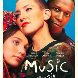 Film poster featuring two young white women, one with a shaved head and a black man all in an embrace as they look at the camera