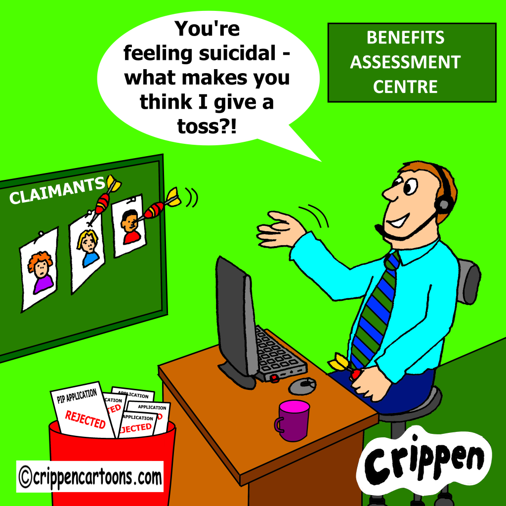 a cartoon about calous attitudes of benefits assessors