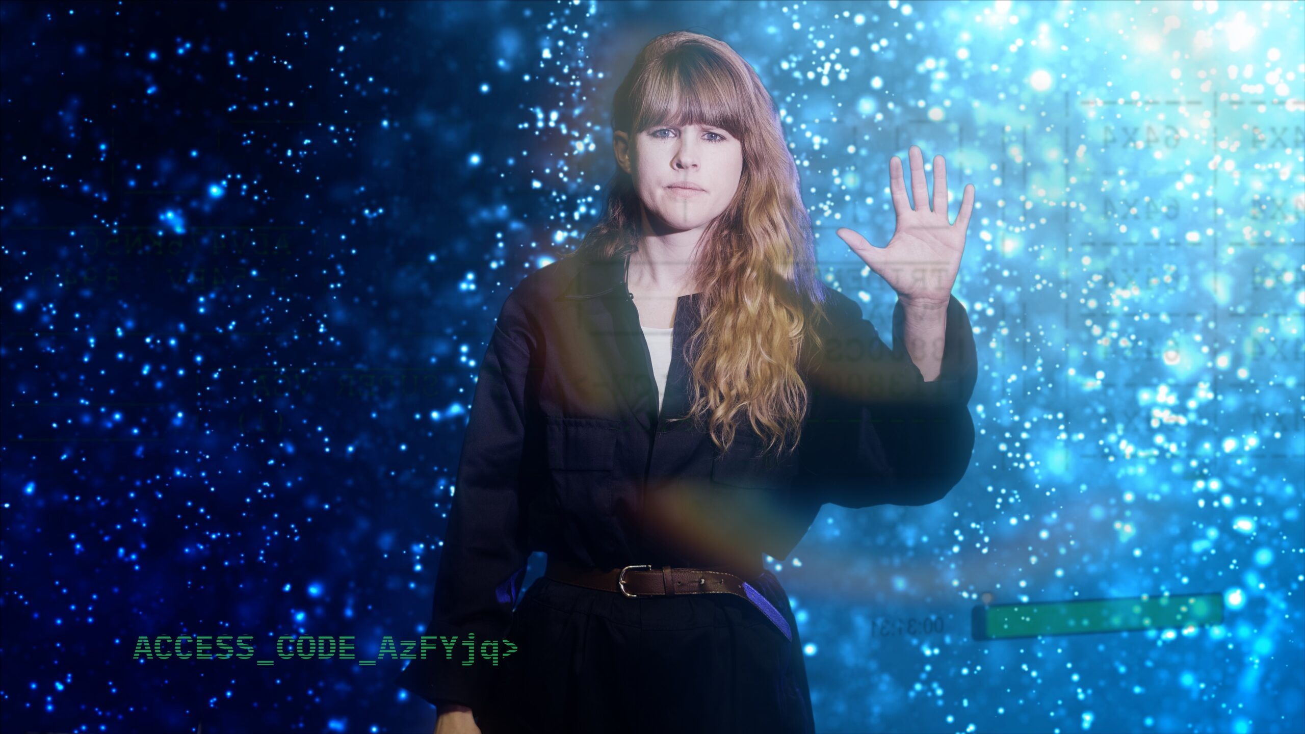 A white woman with long ginger hair in a black jumpsuit holds her palm out. She is set against a futuristic background of blue light