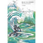 An illustration of crashing waves in shades of blue and green. Dolphins swim amongst them.