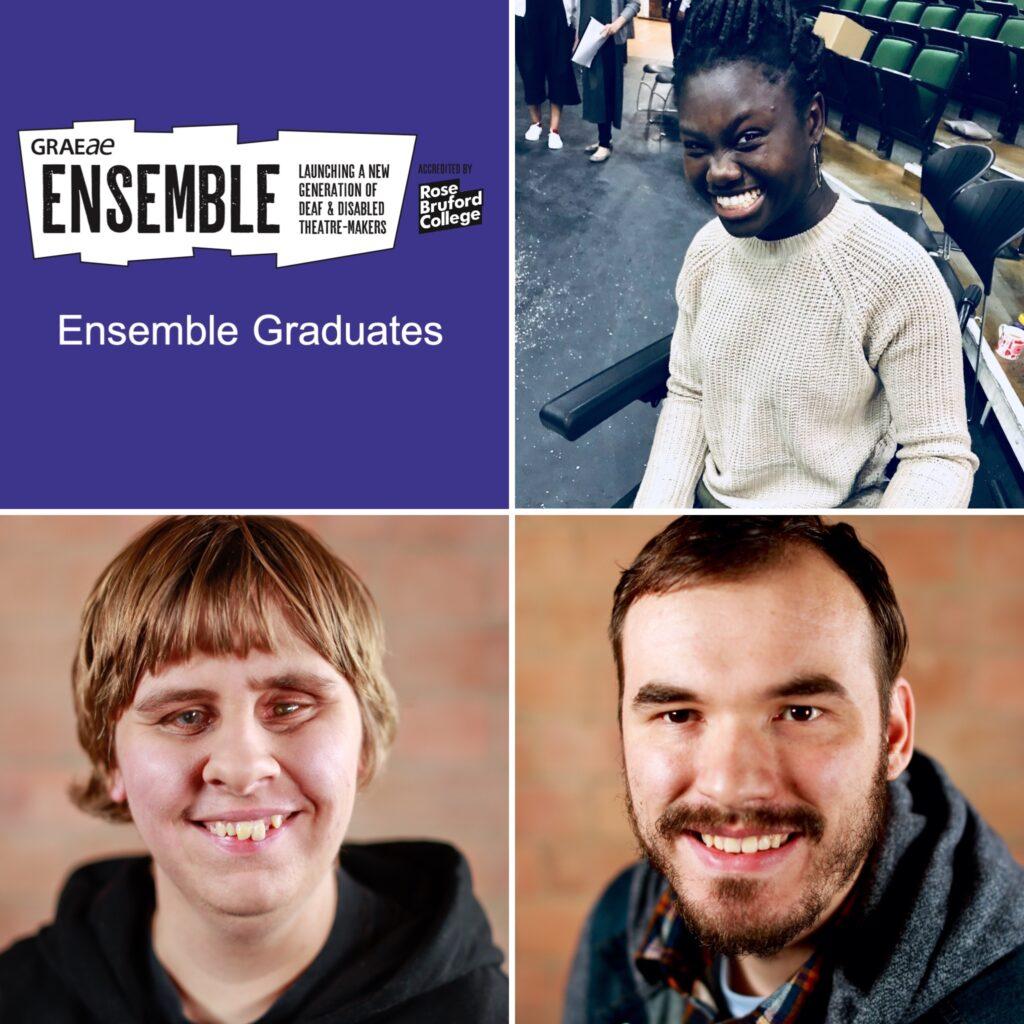 Image of Graeae's Ensemble logo on a purple background with three headshots of Ensemble Graduates, Awa Jagne (top right), Vanessa Smith (bottom left) & Josh King (bottom right).