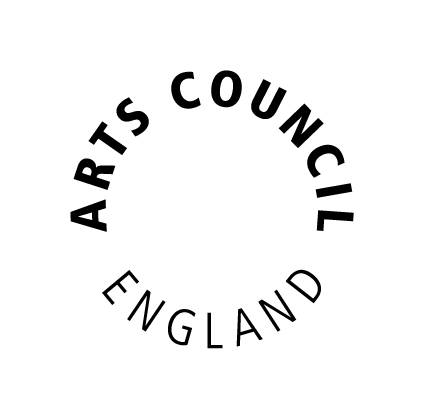 The words 'Arts Council England' appear in a circle in black font on a white background