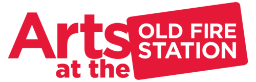 'Arts at the' in red text on a white background, next to a red rectangle that contains white capital text that reads: Old Fire Station.