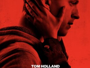 flyer for tv film showing the side profile of the head of a young white man, against a red filter