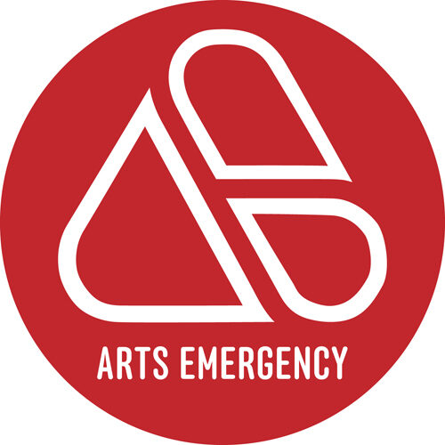 Arts Emergency in white capital text in a red circle.