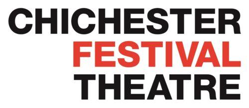 Chichester Festival Theatre logo.  Chichester in black above Festival in red above Theatre in black capital text