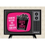 A photo which shows a retro television, with a bright pink graphic on the screen which reads: Crips with Chips scratch night, thinking outside the boxset from 8pm. A cartoon of a packet of chips is also shown.