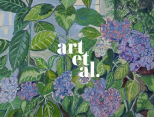 promotional image for 'art et al' with the title in white against a green flowery background