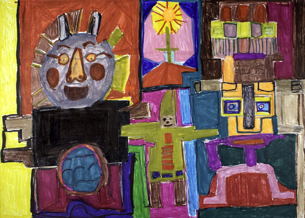 Acrylic collage showing several colourful faces