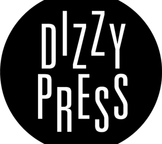 dizzy press written out in a black circle in white text