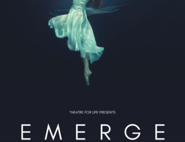 A photo of a white woman floating underwater, wearing a white dress. They are left side-facing, with their head looking up towards the surface, their arms raised above their head with their back arched. At the top of the image, their reflection is shown on the surface of the water. The background of the image is a deep blue. At the bottom of the image, text reads the title of the piece, with the screening information details.
