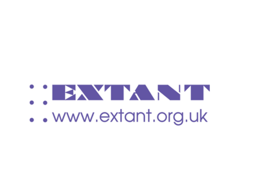 A 6 dot braille cell with purple dots next to Extant in bold purple capital text above www.extant.org.uk in smaller purple text.