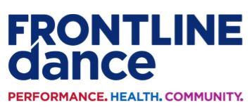 FRONTLINE is in captials and dance lower case both in a royal blue colour. Directly underneath sits the words PERFORMANCE (in red) COMMUNITY (in purple) and HEALTH (in a light blue)