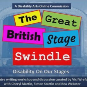 A slide set against a theatre backdrop which reads the great British stage swindle