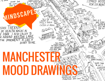 "A black and white drawing of an aerial view of a street. The caption says Manchester Mood Drawings in Orange, and there is an orange logo that says ""MINDSCAPES"""