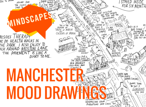 """A black and white drawing of an aerial view of a street. The caption says Manchester Mood Drawings in Orange, and there is an orange logo that says """"MINDSCAPES"""""""