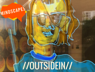 A close up squiggly drawing of a face. The face is yellow, and they have blue sunglasses and a blue shirt. The picture appears to be drawn on a window. We can't see what's behind the window.