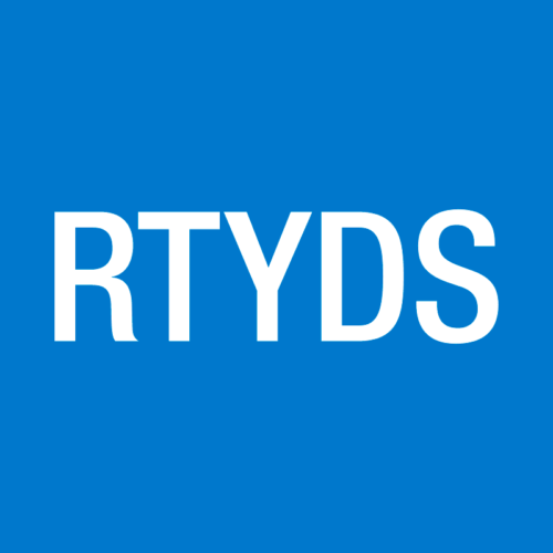 RTYDS logo, white text on blue background
