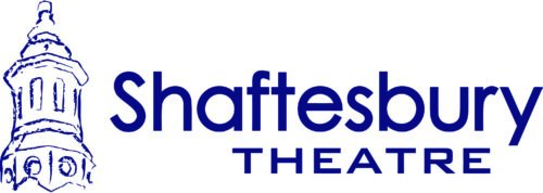 Shaftesbury Theatre in Blue text on a white background.