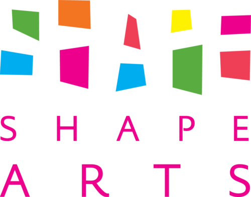 Shape Arts logo which is comprised of bright shapes creating a negative space for the word 'Shape' and 'Shape Arts' in plain text underneath.