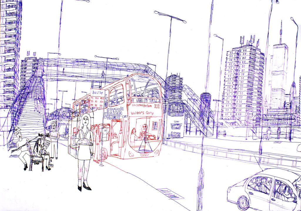 Drawing in blue and red ink depicting a London scene showing a double decker bus and high rise flats