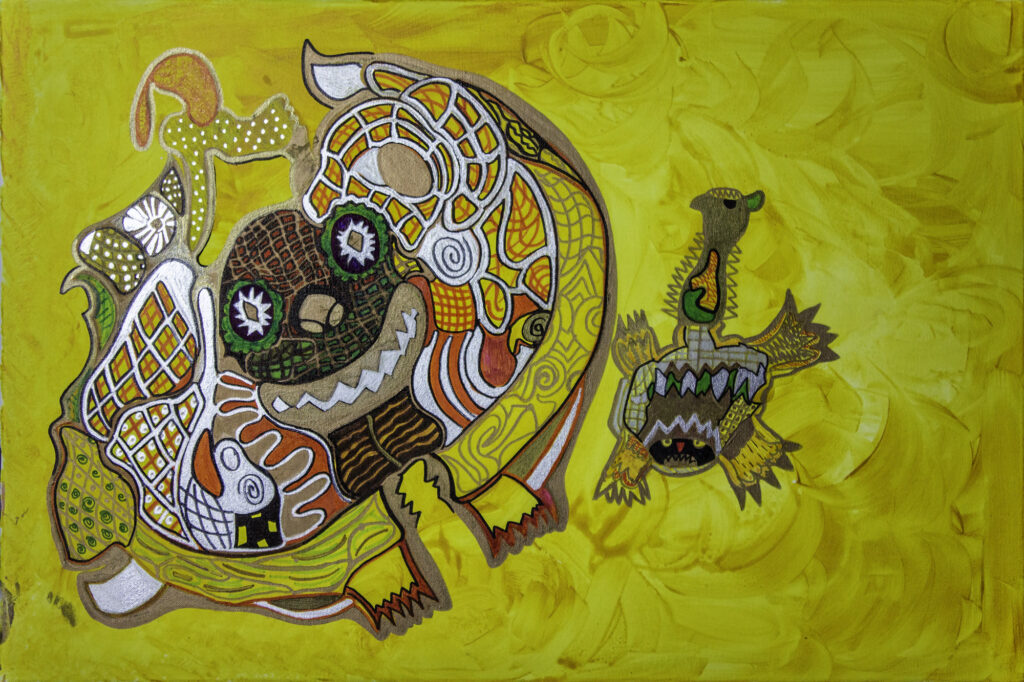 Abstract painting steeped in yellow it shows a creature with patterns on it