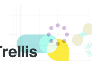 The Trellis logo, which shows the word 'Trellis' in black lettering against a white background, with blue and yellow abstract shapes