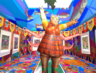 a very colourful, illustrated gallery space with a female figure that has 6 arms, an orange dress and blue mask in the central area