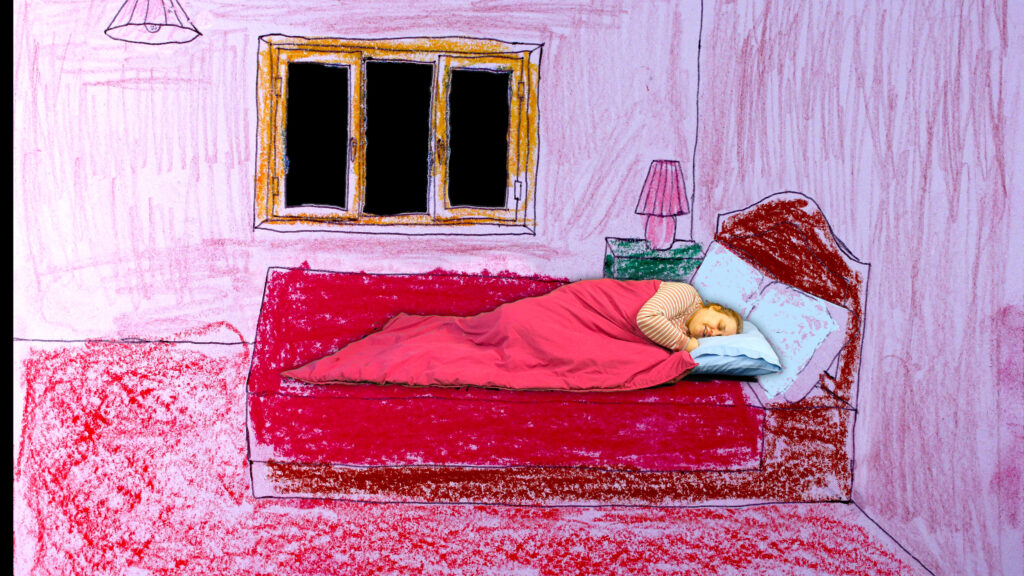 Film still of a learning disabled woman lying in a bed which is a against an animated hand-drawn background