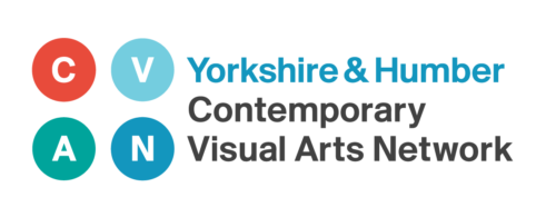 4 coloured circles arranged in a 2 x 2 grid, Coloured Red, light blue, turquoise and mid blue (l-r, top to bottom). These contain the letters C,V,A & N. To the right, Yorkshire & Humber written in blue above Contemporary Visual Arts Network in black.