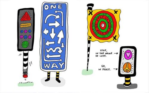 A series of brightly coloured playful graphics of four road signs