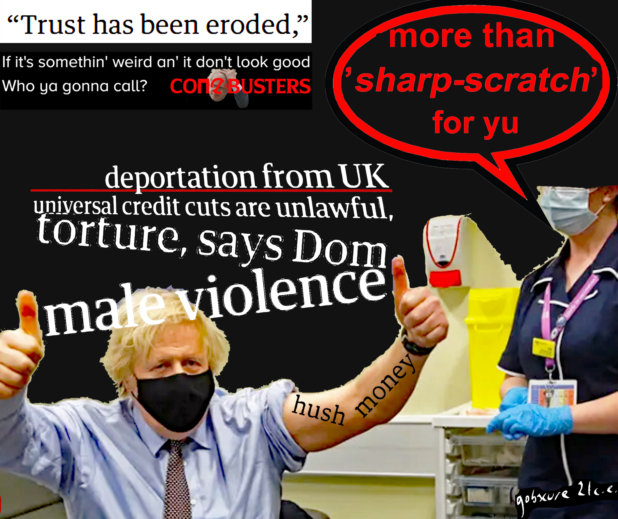 Digital collage showing Boris Johnson getting his Covid Jab. HEadlines such as 'male violence' are overlaid
