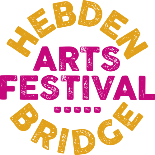 Hebden Bridge stamped in a circular shape in yellow on a white background. Arts Festival is stamped in pink across the centre.