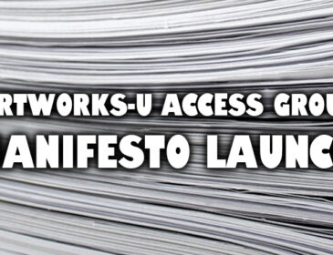 "A black and white image. The background is filled with a stack of white paper. In the foreground, written in bold white font with a dark drop shadow, is the caption, ""Artworks-U Access Group: Manifesto Launch"".."