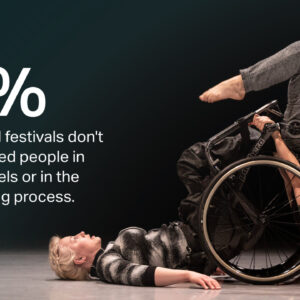A female disabled and non-disabled dancer duet. The statistic reads 87% of venues and festival don't involve disabled people in selection panels or the commissioning process.