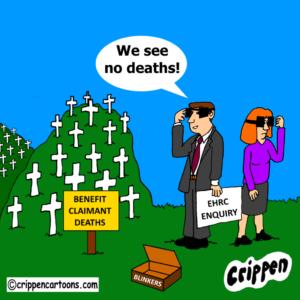 cartoon about DWP deaths enquiry