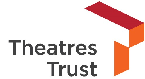 Theatres Trust in black text. A white 3D T sits to the right with a red top edge and an orange right hand side.