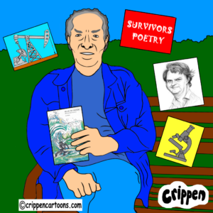 A caricature of Joe Bidder sitting on a park bench and holding a copy of his new book. In the air around him are pictures representing aspects of his life. These are a microscope, an oil well, a caricature of Paul Merton and a red sign reading 'survivors poetry'.