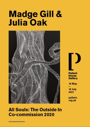 Poster showing a drawing of a mighty Yew tree by Julia Oak and the details of the exhibition, title, dates and location