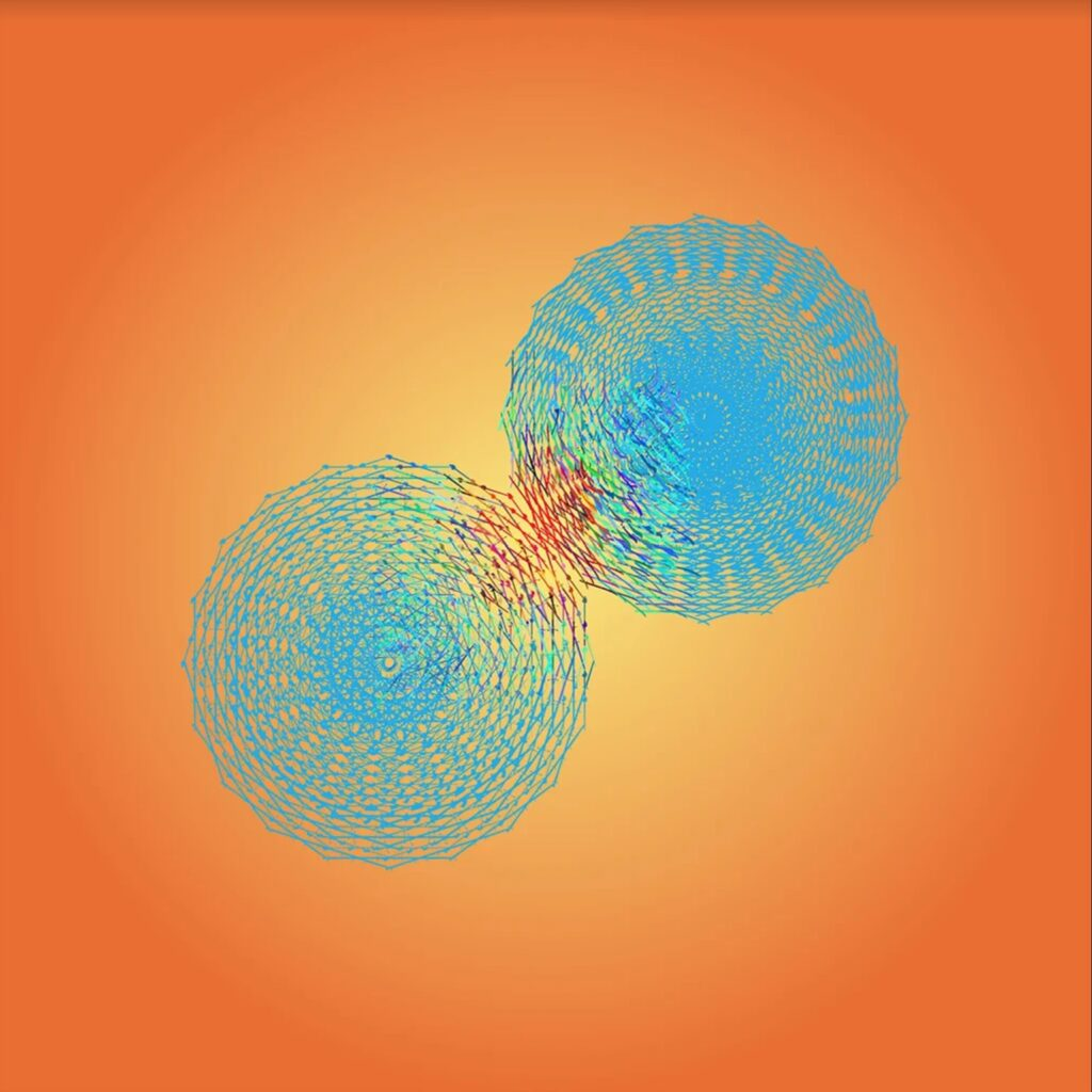 Digital artwork showing two blue circles touching against an orange backdrop